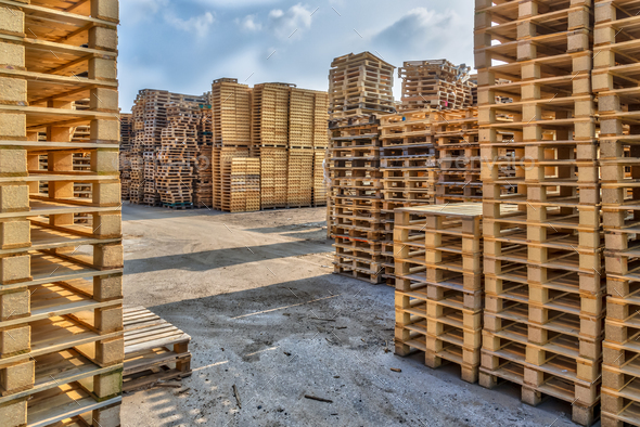 Huge piles of different type of pallet - Stock Photo - Images