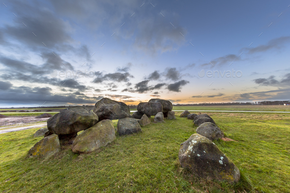 Hunnish megalithic Dolmen structure - Stock Photo - Images