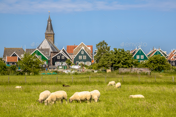 Traditional dutch Village with colorful wooden houses - Stock Photo - Images
