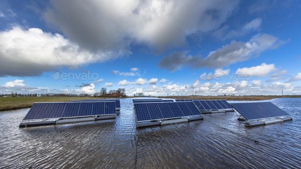 Floating solar units - Stock Photo - Images