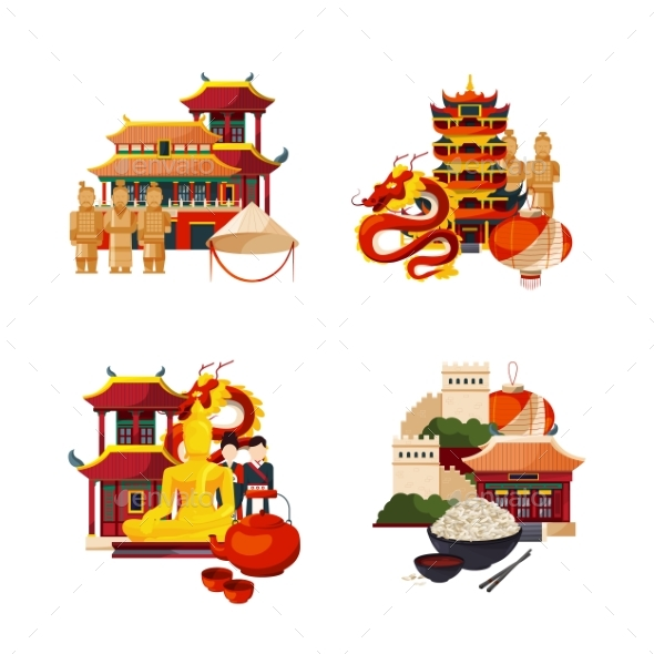 Vector Set of Flat Style China Elements and Sights