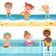 Kids Playing in Water. Vector Characters Isolate - GraphicRiver Item for Sale