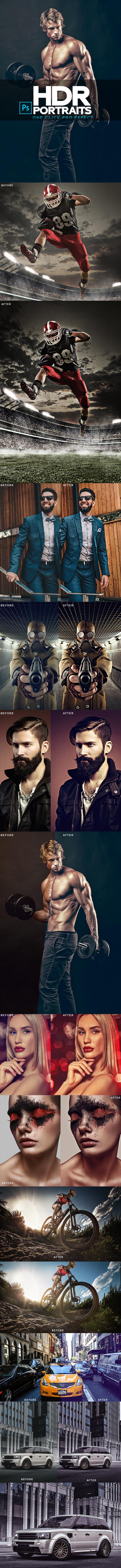 HDR Portrait Photoshop Action - Photo Effects Actions