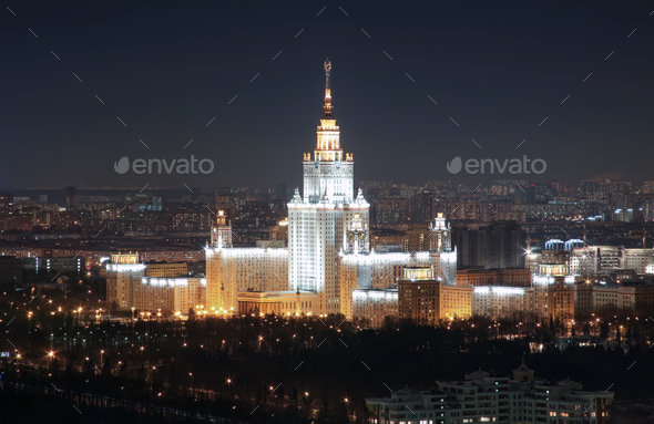 The Soviet University, top view, night - Stock Photo - Images