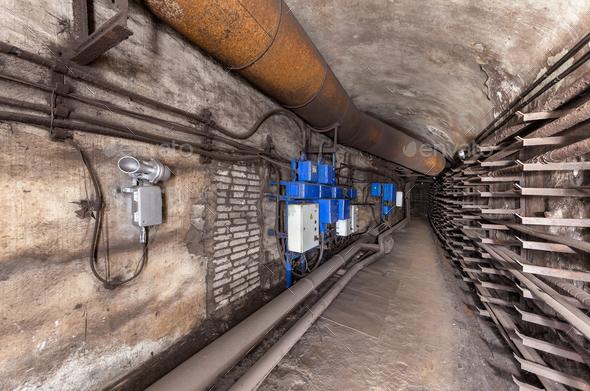 Underground communication tunnel - Stock Photo - Images