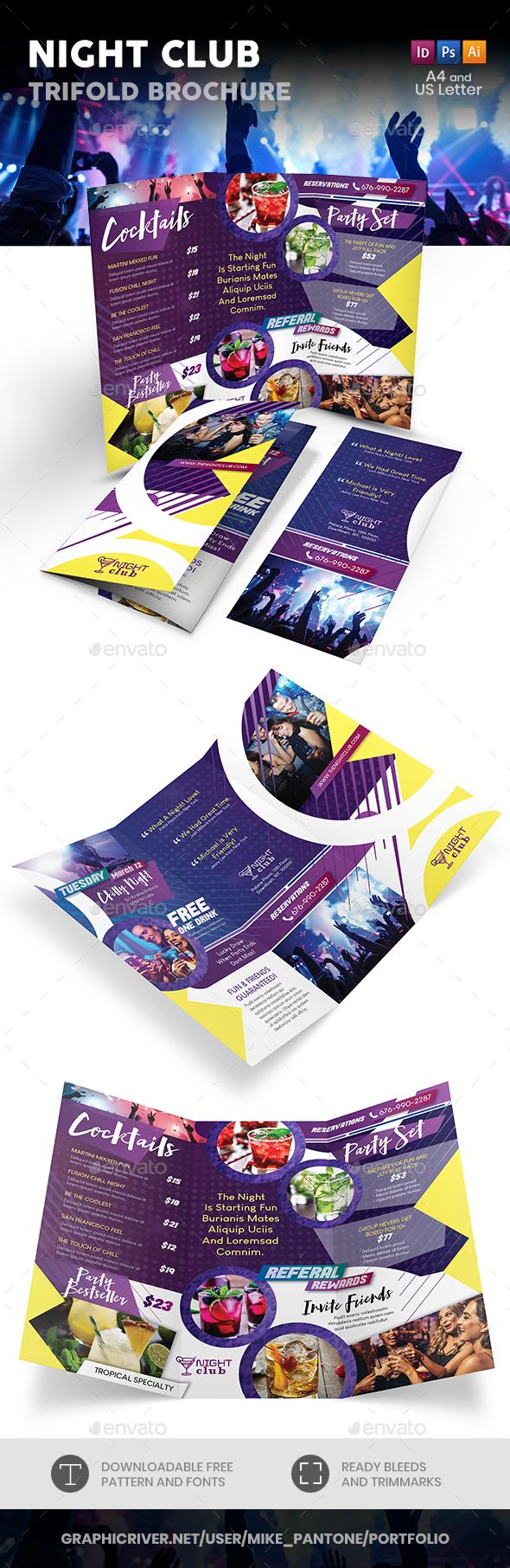 Night Club Trifold Brochure - Informational Brochures