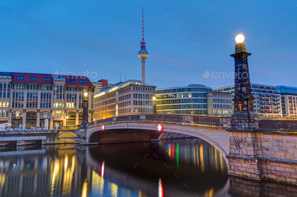 Historic bridge over the river Spree in Berlin  - Stock Photo - Images