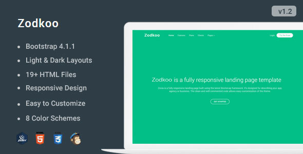 Zodkoo - Responsive Bootstrap 4 Landing Page Template