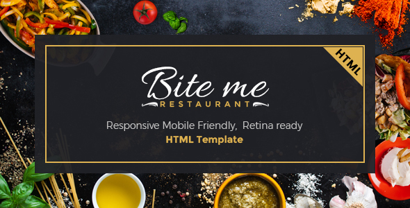 BiteMe- Restaurent Landing Page HTML Template - Restaurants & Cafes Entertainment