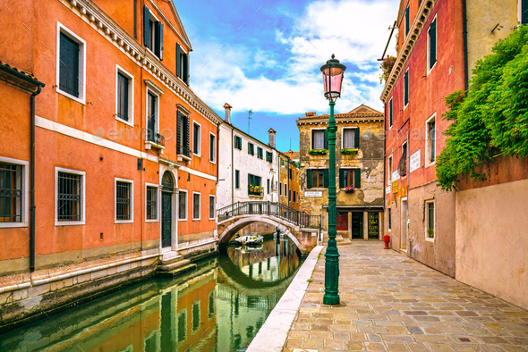Venice cityscape, buildings, water canal and bridge. Italy - Stock Photo - Images