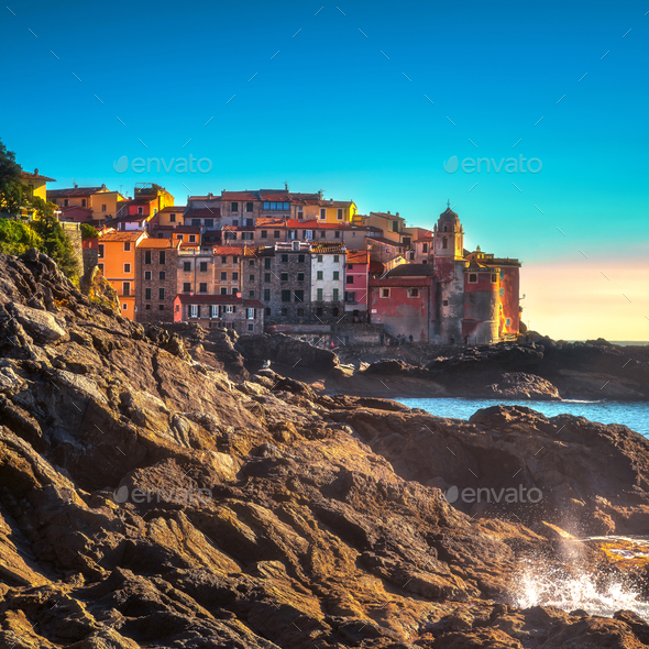 Tellaro rocks and village on the sea. Cinque terre, Ligury Italy - Stock Photo - Images