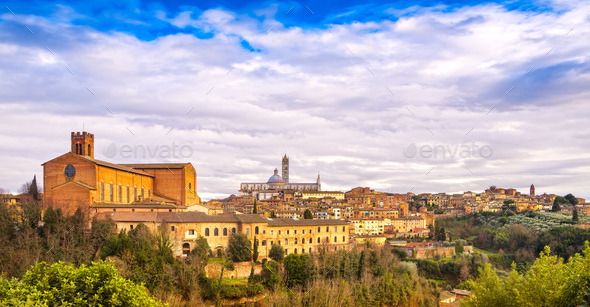 Siena sunset panoramic skyline. San Domenico and Duomo cathedral - Stock Photo - Images