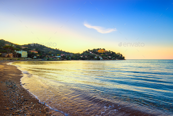 Porto Santo Stefano, headland and bay beach in Argentario, Tusca - Stock Photo - Images