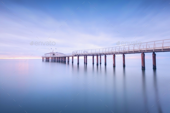 Pier soft water long exposure Lido Camaiore versilia Tuscany Ita - Stock Photo - Images