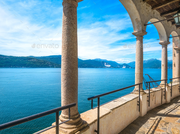 Maggiore lake view from Hermitage or Eremo of Santa Caterina del - Stock Photo - Images