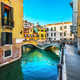 Venice cityscape, buildings, water canal and double bridge. Ital - PhotoDune Item for Sale