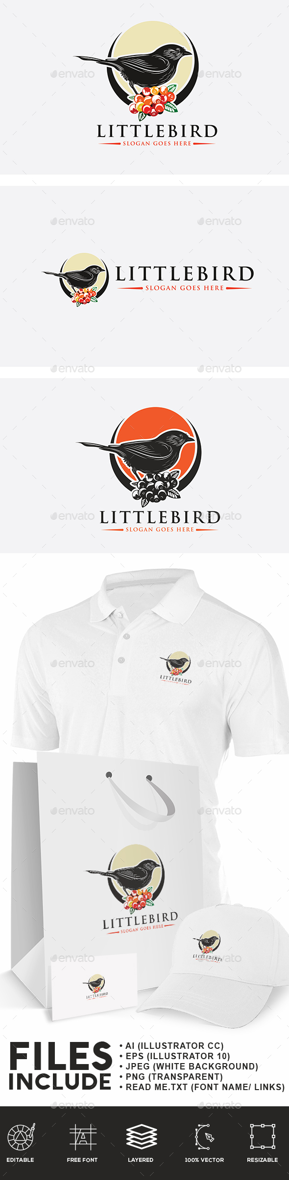 Little Bird Logo - Animals Logo Templates