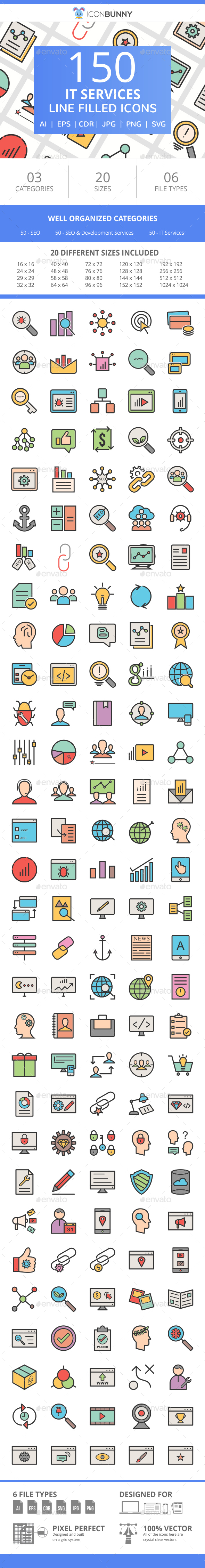 150 IT Services Filled Line Icons - Icons