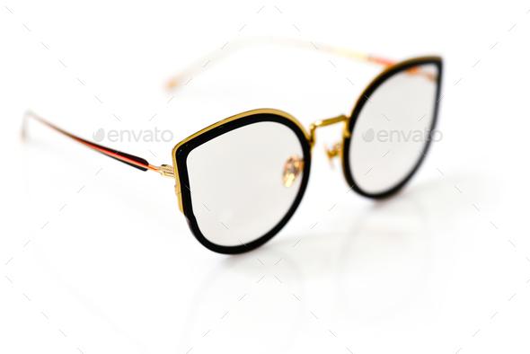 Female fashion glasses on white background - Stock Photo - Images