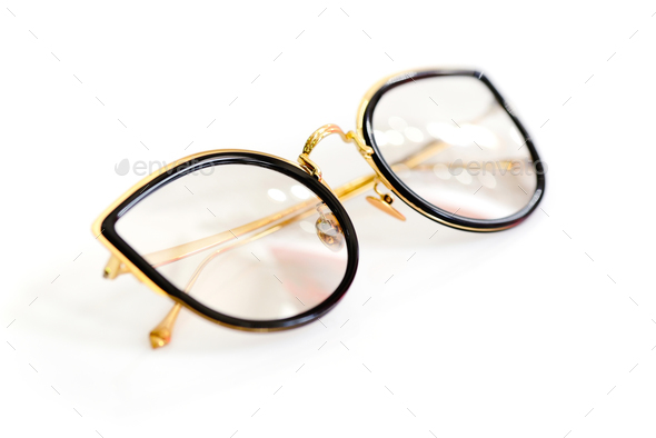 Female fashion glasses on white background - Stock Photo - Images
