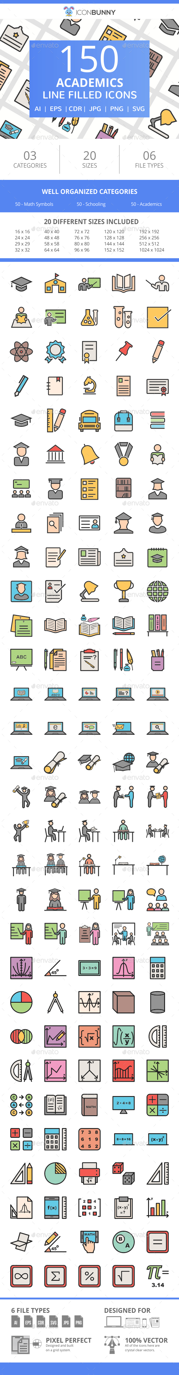 150 Academics Filled Line Icons - Icons
