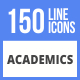 150 Academics Filled Line Icons