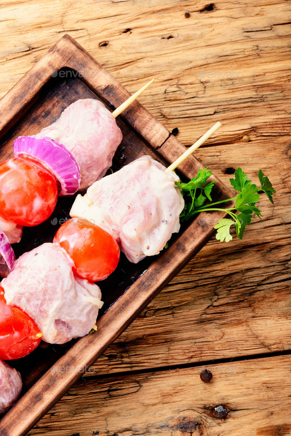 Marinated pork kebab on stick - Stock Photo - Images