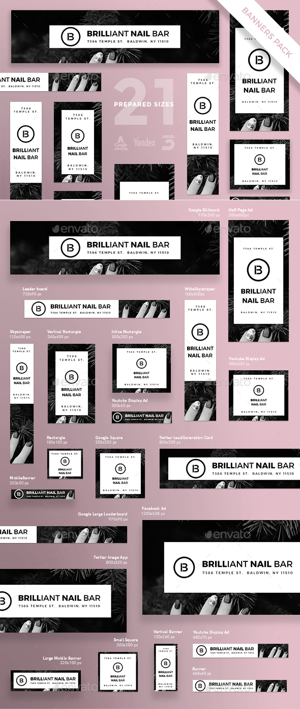 Brilliant Nail Bar Banner Pack - Banners & Ads Web Elements