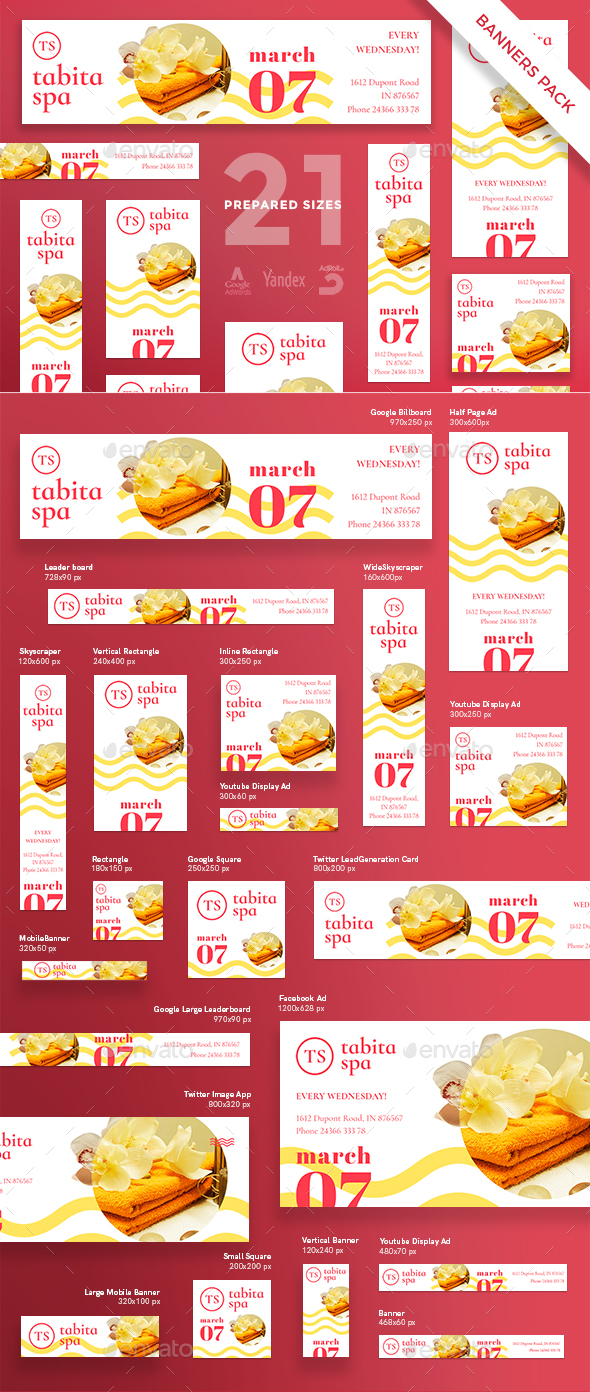 Tabita Spa Salon Banner Pack - Banners & Ads Web Elements