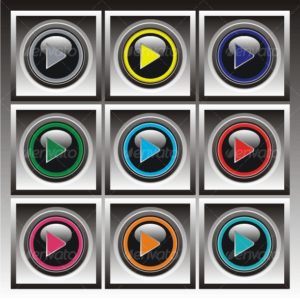 Set of vector elements. Color buttons. - Web Icons