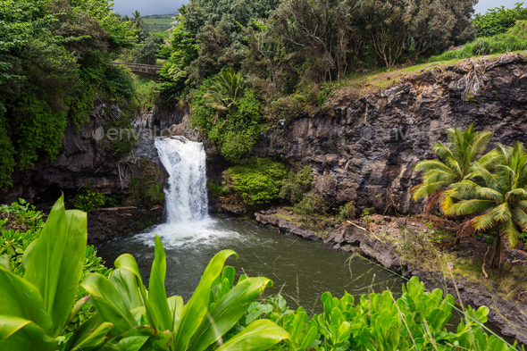 Waterfall on Hawaii - Stock Photo - Images