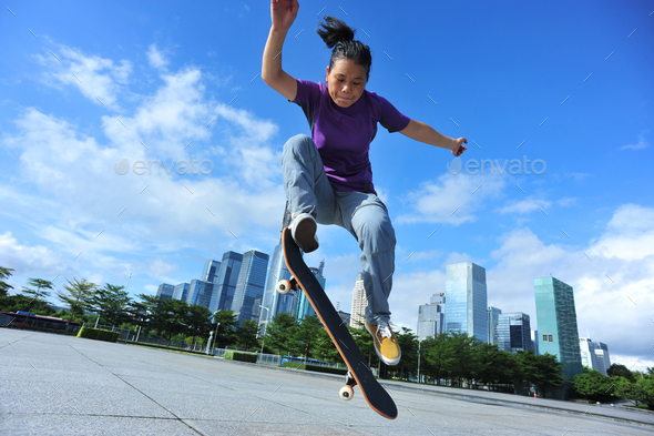 Skateboarder sakteboarding at city - Stock Photo - Images