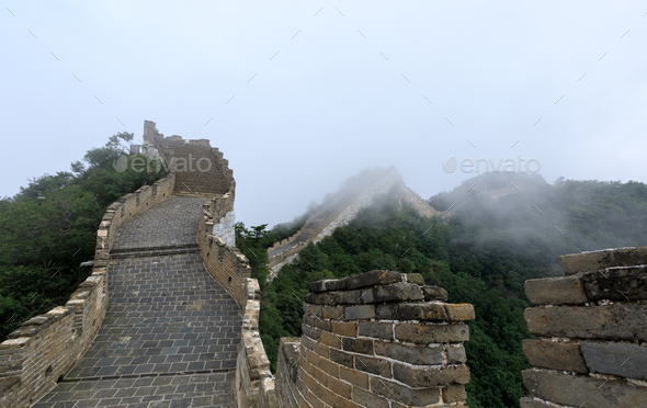 Restored chinese great wall in china - Stock Photo - Images