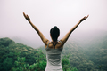 Healthy lifestyle woman outstretched arms in spring forest - PhotoDune Item for Sale