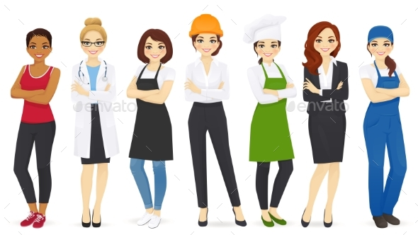 Different Woman Professions Set - People Characters