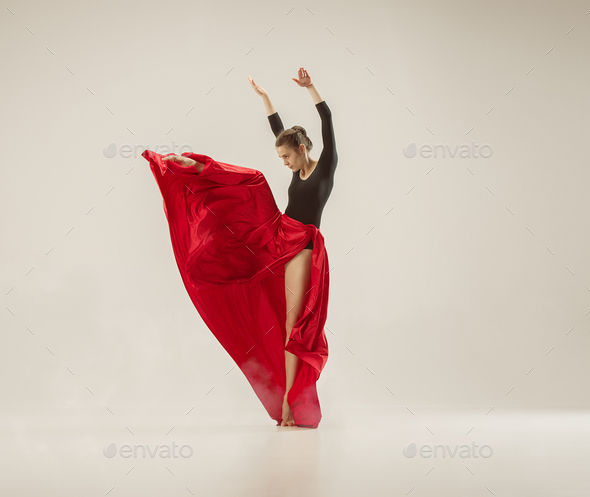 Modern ballet dancer dancing in full body on white studio background. - Stock Photo - Images