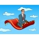 Businessman on Magic Carpet Pop Art Vector - GraphicRiver Item for Sale