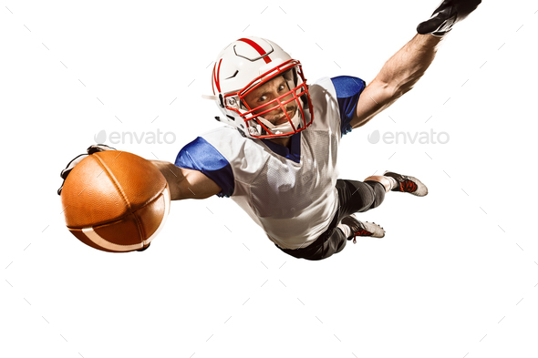 one american football player man studio isolated on white background - Stock Photo - Images