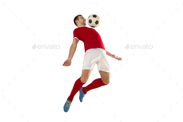 Professional football soccer player isolated white background - Stock Photo - Images