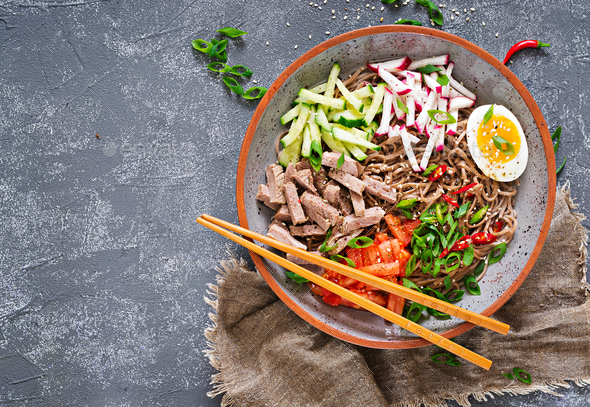 Buckwheat noodles  with beef, eggs and vegetables - Stock Photo - Images