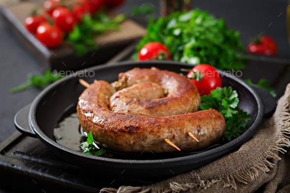 Homemade sausage barbecue. Picnic menu. Festive food - Stock Photo - Images