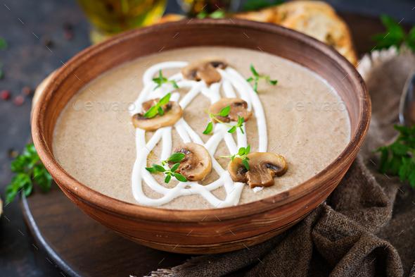 Mushroom cream soup. Vegan food. Dietary menu. - Stock Photo - Images
