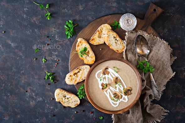 Mushroom cream soup. Vegan food. Dietary menu. Top view. Flat lat. - Stock Photo - Images