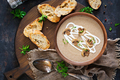 Mushroom cream soup. Vegan food. Dietary menu. Top view. Flat lat. - PhotoDune Item for Sale