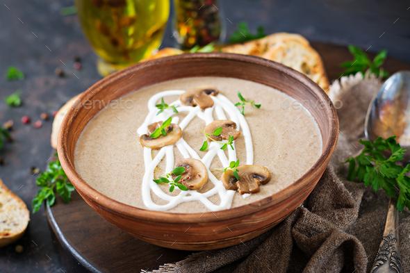 Mushroom cream soup. Vegan food. Dietary menu. - Stock Photo - Images