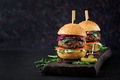 Big sandwich - hamburger burger with beef,  tomato, basil cheese and arugula. - PhotoDune Item for Sale
