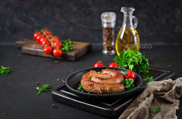 Homemade sausage barbecue. Picnic menu. Festive food - Stock Photo - Images