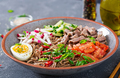 Buckwheat noodles  with beef, eggs and vegetables. Korean food.  Buckwheat pasta soup. - PhotoDune Item for Sale