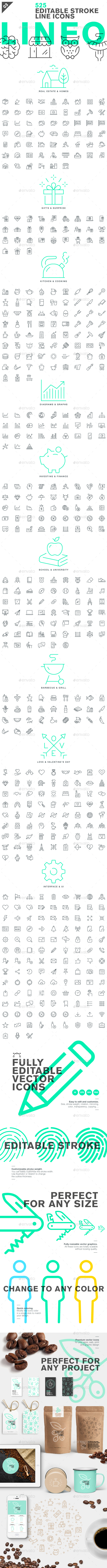 Lineo - Pack 3 - 525 Icons - Icons
