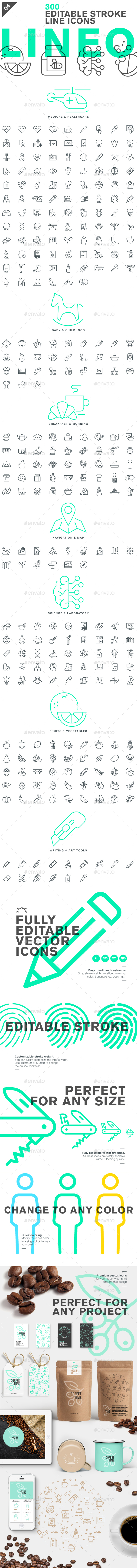 Lineo - Pack 4 - 300 Icons - Icons